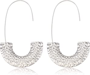 c4e7f6dfa Statement Wire Drop Dangle Earrings Punk Chunky Metal Hoop Earrings Fashion  Jewelry For Women Girls