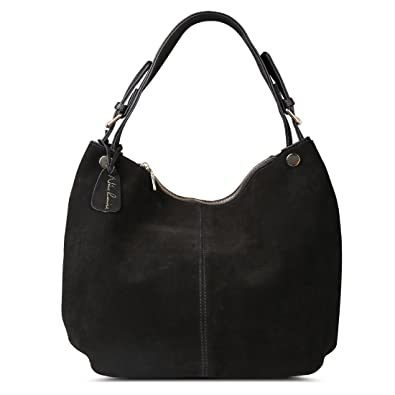 Nico Louise Women s Genuine Leather Suede Purse Shoulder Bag Casual Hobo bag (Black) 7e15a899719d2