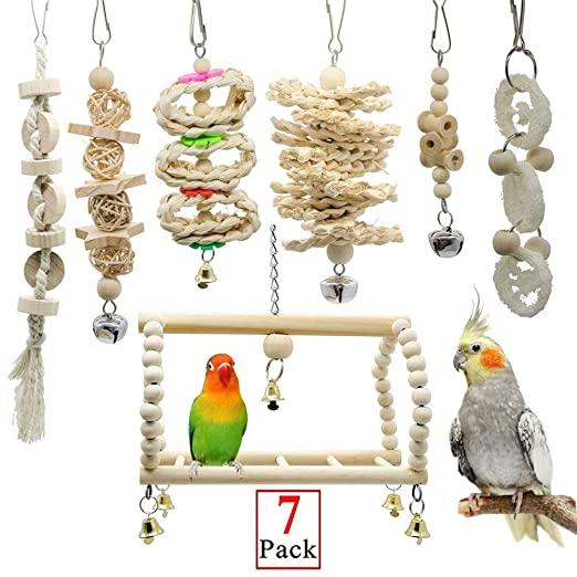 arthomer 7 Piezas Juguetes Coloridos para Pájaros en Juala, con ...