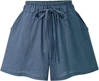 LAEMILIA Short Femme Court Mode Eté Lin Coton Corde Attacher Uni Couleur Plage avec Poches Taille Haute Doux Léger Bermudas Pantalons Casual Loose