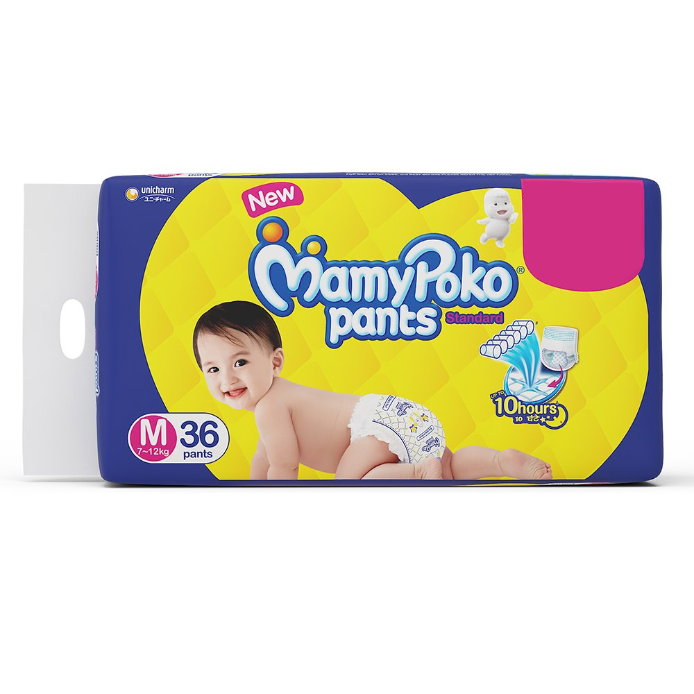 Mamypoko Pants Standard Diapers, Medium (Pack Of 36)