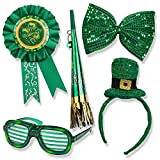 St. Patrick's Day Set; St. Patrick's Day Light up Glasses, Giant Bow Tie, Award Ribbon Pin, Mini Hat Headband, & Horn on a Chain!!