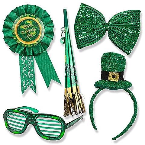 St. Patrick's Day Set; St. Patrick's Day Light up Glasses, Giant Bow Tie, Award Ribbon Pin, Mini Hat Headband, & Horn on a