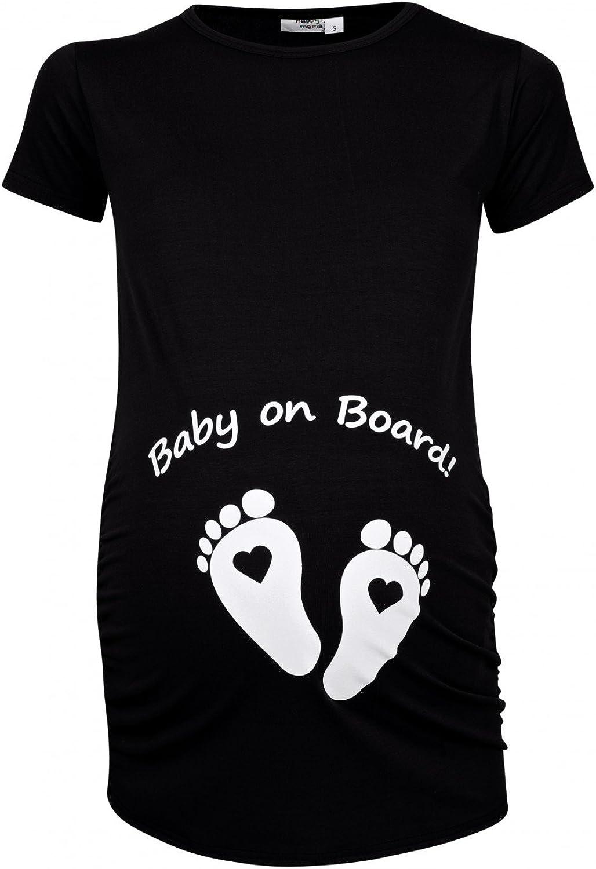 Happy Mama para Mujer Camiseta premamá Estampado Baby on Board y Bebé pies. 199p (Negro, 40-42, XL)