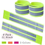 Chuangdi 5 Pieces High Visibility Reflective Vest Safety Reflector Strips Bands Leg Safety Gear for Night Walking Cycling Jogging Hiking Bicycle Running