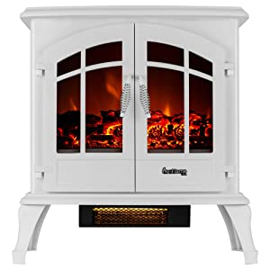 e-Flame USA Jasper Portable Electric Fireplace Stove (Winter White) - This 23-inch Tall Freestanding Fireplace Features Heater and Fan Settings with Realistic and Brightly Burning Fire and Logs