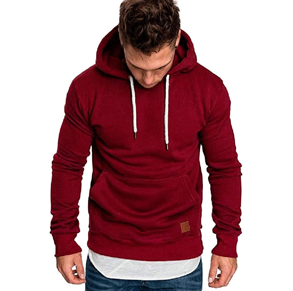 Men Hoodies TUDUZ Men's Plain Long Sleeve Casual Hooded Sweatshirt Top Autumn Winter Casual Sports Hoody Tracksuits Blouse