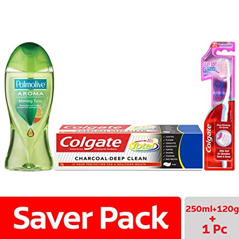 Colgate Palmolive Aroma Therapy Morning Tonic Shower Gel - 250 ml with  Colgate Total Charcoal Deep Clean Toothpaste - 120 g and Slim Soft  Sensitive