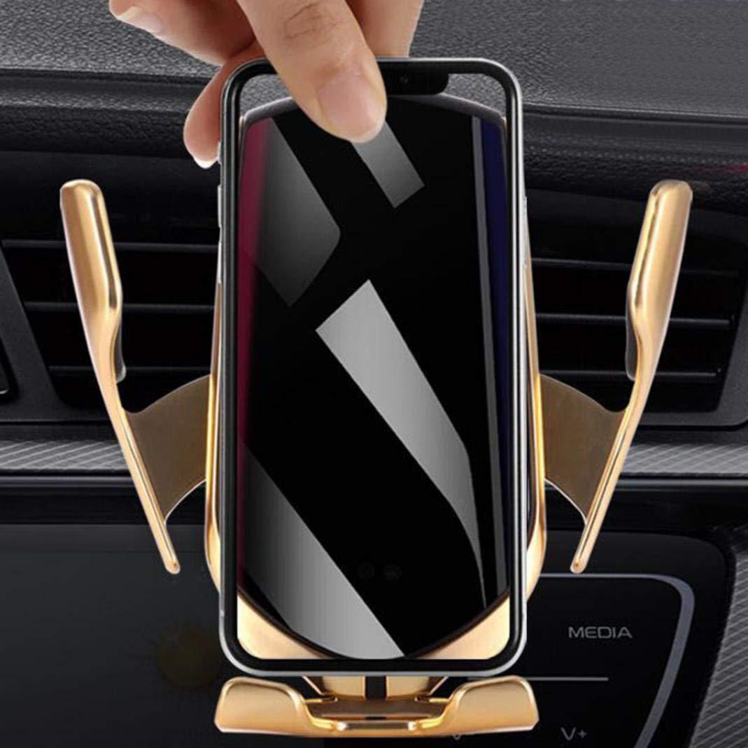 support de chargeur sans fil pour t/él/éphone portable Silver Transmetteur FM pour voiture capteur infrarouge pince automatique