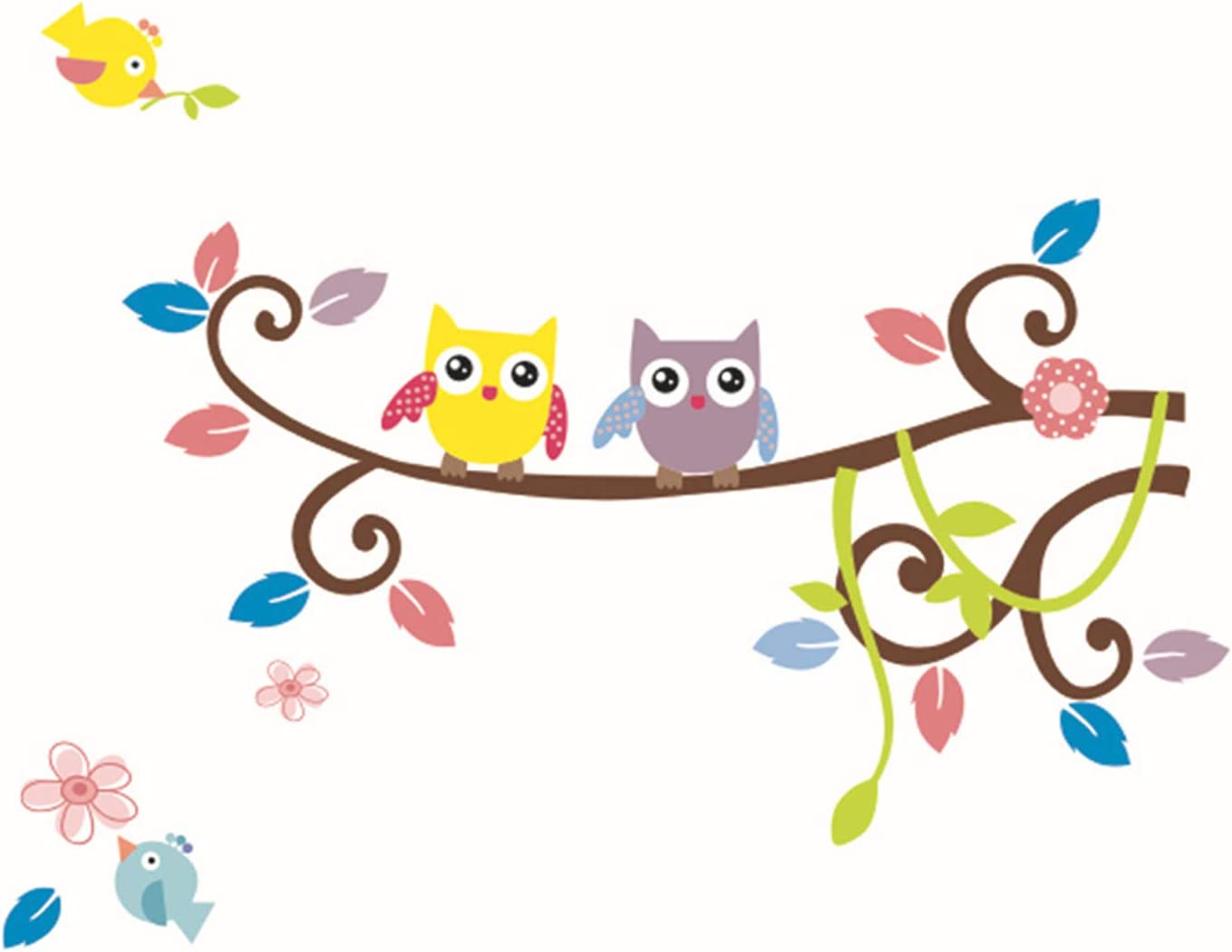 Fymural Animals Tree Wall Stickers - Nursery Decor of Owl Birds Wall Decals for Toddler Kids Girls Room Baby Bedroom Decorations DIY Removable Mural