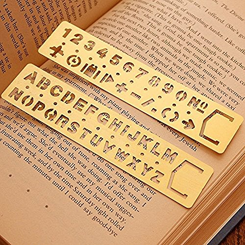Brass Alphabet & Number Template Set of 2,JoyTong Multifunctional Drawing Stencil Bookmark Lettering Stencil Set Guide with (Brass Icon)