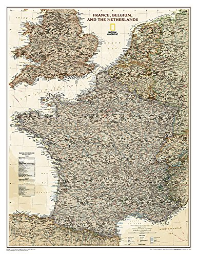 National Geographic: France, Belgium, and The Netherlands Executive Wall Map - Laminated (23 x 30...