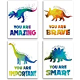 "Dinosaur Inspirational Words Watercolor Art Prints Set of 4 (8""X10""), Dinosaur Wall Art Poster for Boys & Girls, Son, Kids Ro"