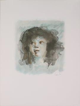 1c9f29b2cc9 Signé 1974 Leonor fini Bleu Portrait (lithographie visage bleu ...