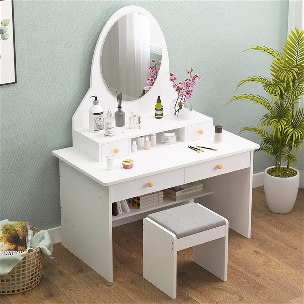 Frisierkommode Stuhl Set Multifunktionsschrank Schlafzimmer Dresser Schlafzimmer Economy Mode Schminktisch mit Spiegel Stilvolle und Funktionelle Moderne Möbel (Color : A, Size : 40 x 80 x 152cm)