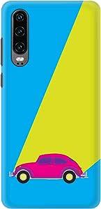 Stylizedd Huawei P30, Slim Snap Basic Case Cover Matte Finish - Retro Bug Blue
