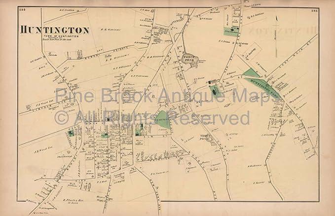 Huntington New York Map.Amazon Com Huntington New York Vintage Map Beers 1873 Original Long