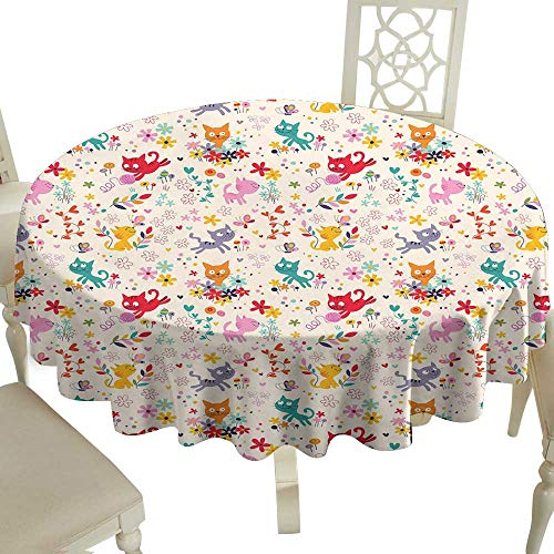 Cranekey The Pattern Round Table Cloth 60 Inch Kitten,Playful Happy Kittens Chasing Butterflies and Wool Balls Among Colorful Flowers,Multicolor Great for,Party & More