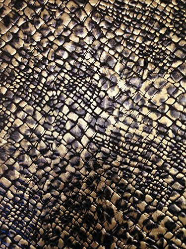 Dark Brown Reptile Pattern Metallic Foil on Stretch Lightweight Knit Jersey Polyester Spandex Fabric By the Yard