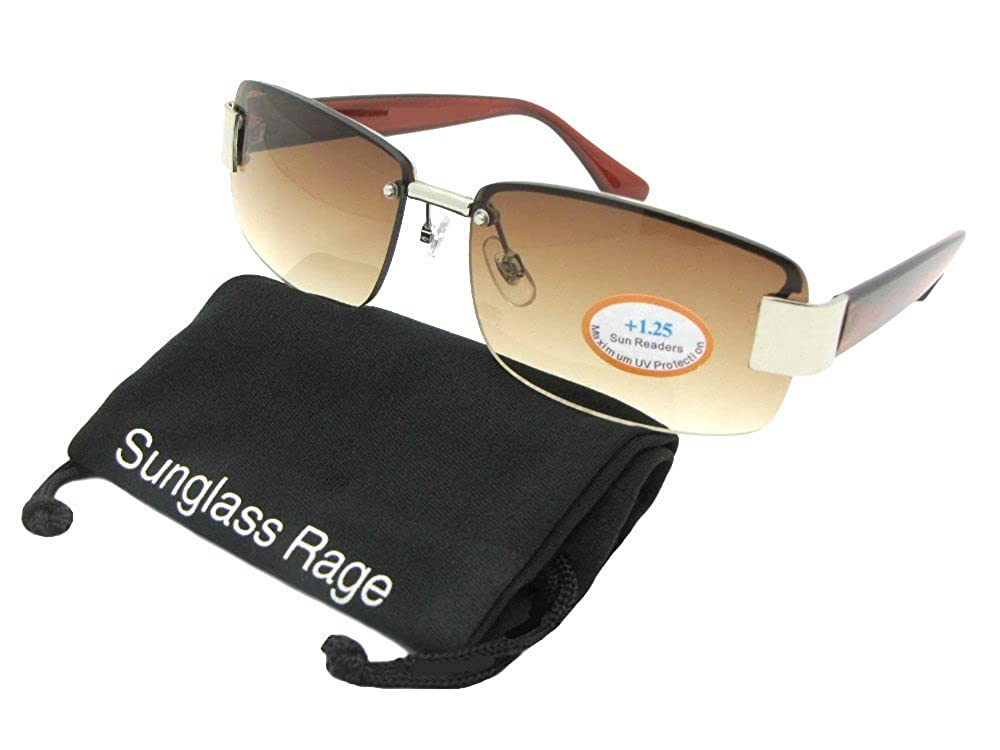 17d91e7dda Amazon.com  R43 Fashion Full Reader Lens Reading Sunglasses With Sunglass  Rage Pouch (Gold Frame-Brown Lenses