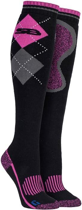 Ladies Long Knee High Argyle Cotton Equestrian Riding Boot Socks Storm Bloc