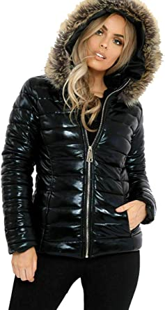 Women Coat Jacket Warm Winter Outdoor Hooded Shiny Down Casual Rainy Fashion New