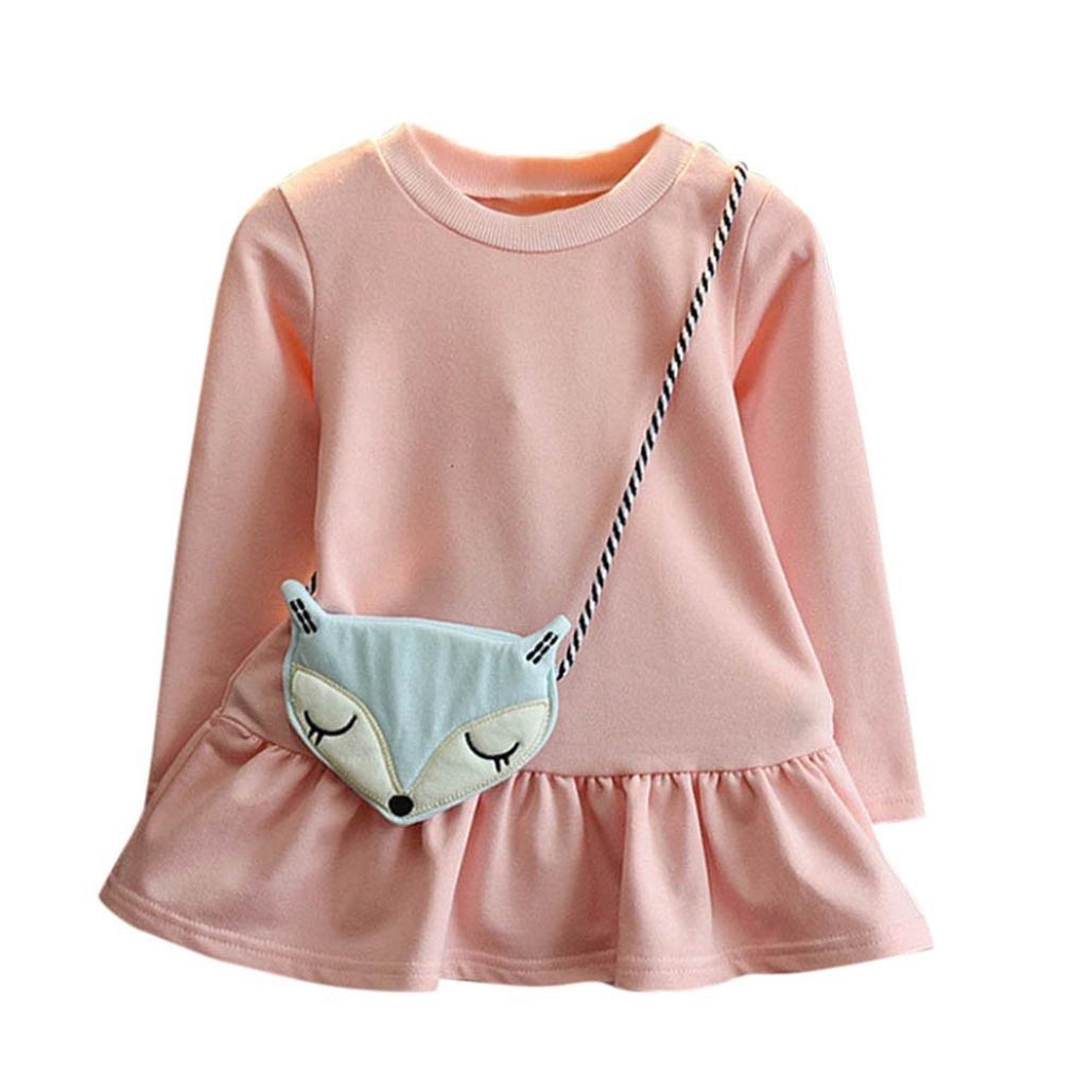 36c83b82f Vestido de invierno, RETUROM Niñas hermosa niña vestido de princesa + Fox  bandolera bolsa de