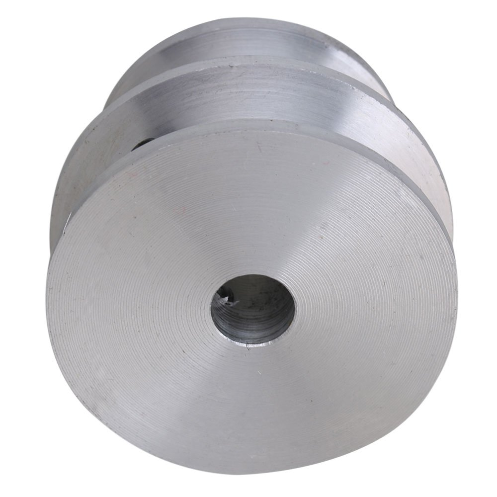 Mxfans 40x30x8MM Silver Aluminum 2-Step Groove Fixed Bore Pulley with Wrench