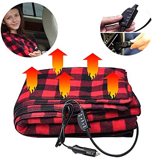 12V 145X100cm Electric Car Heated Blanket Rapid Heating 100/% Velvet Warm Winter