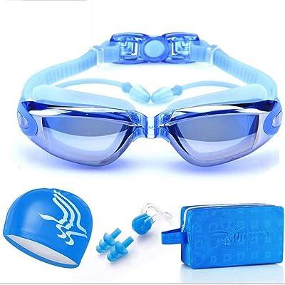 lunettes de myopie brouillard d'eau des hommes et des femmes lunettes de natation grand cadre argenté, doré bonnet de bain rose noir bleu argent , blue four piece