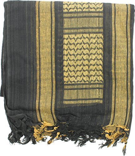 100% Cotton Shemagh Tactical Desert Keffiyeh Scarf (Black & Bright Yellow)