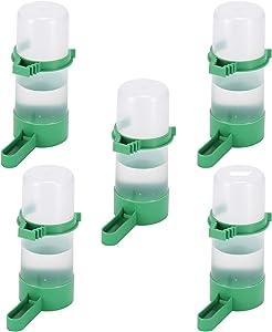 5PCSAutomatic Bird Feeder-Pet Bird Plastic Drinking Bottle Container -Food Dispenser-Pet Automatic Water Feeder Bird Proof Cup-Bird Feeder Water Dispenser-Budgie Parrot Love Bird Hanging in Bird Cage