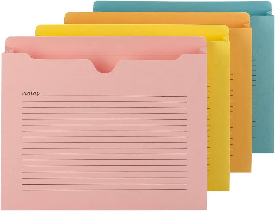 "Smead Notes File Jacket, Letter Size, Straight-Cut Tab, 2"" Expansion, Assorted Colors, 12 per Pack (75694)"