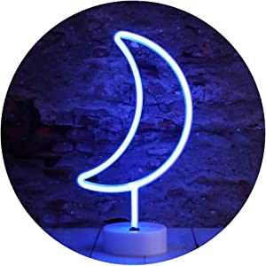 Neon Moon Lights, LED Moon Decor Neon Signs Art Decorations Crescent Night Lights Lamp for Party Supplies, Children Kids Girls Gift-Moon with Holder Base(Blue)