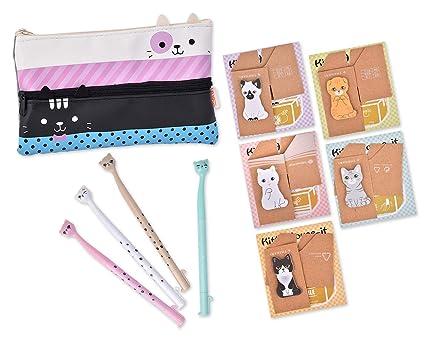 ACE seleccione Funny gatos Set de papelería con gran tamaño estuche para bolígrafos, gato bandera