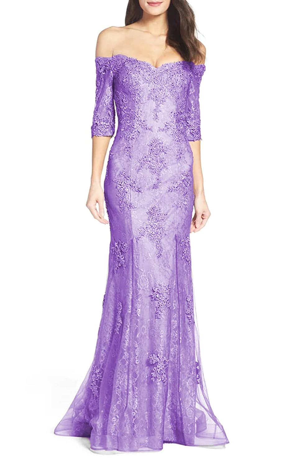 Purple Aisahnglina Women's Lace Appliqued Sweetheart Off The Shoulder Evening Ball Gown for Wedding Party Cocktail