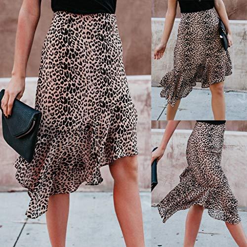 Lavany  Women's Ruffles Skirts Sexy Leopard Print Zipper Knee Length Skirt for Girl Brown by Lavany  (Image #4)