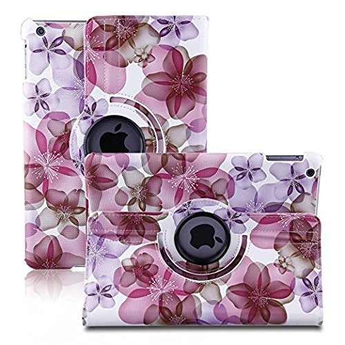 TOPCHANCES 360 Degrees Rotating Stand Luxury PU Leather Case for iPad Air/iPad 5(A1219) with Smart Cover Wake/Sleep Function (Pink Lucky Flower) by TOPCHANCES (Image #2)