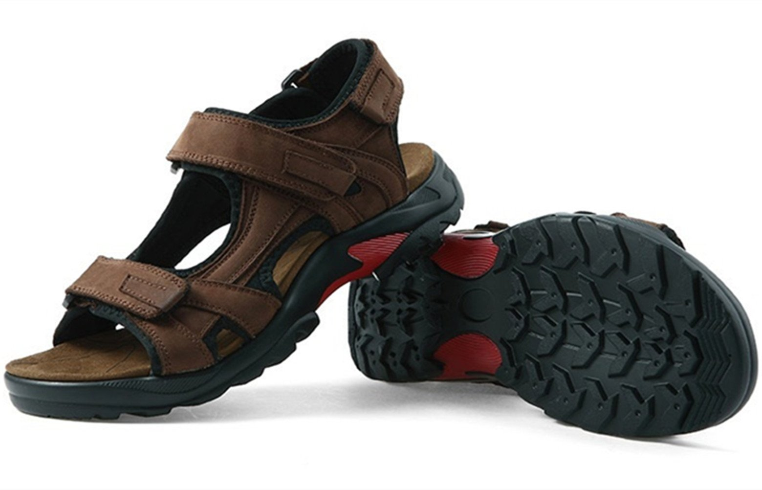 DADAWEN Men's Summer Leather Outdoor Beach Adjustable Strap Athletic Sport Sandals Brown US Size 11