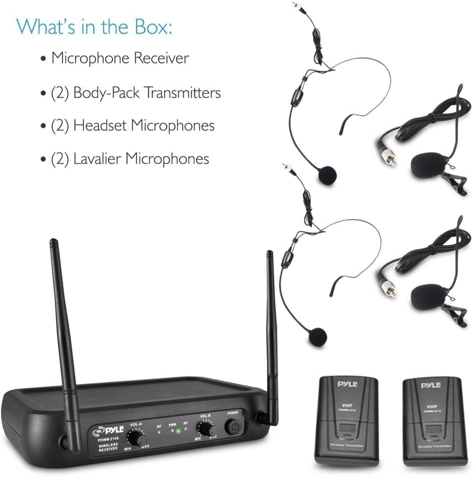 NEW Pyle PDWM2145 VHF Wireless Microphone System w// 2 Lavaliers /& 2 Headsets