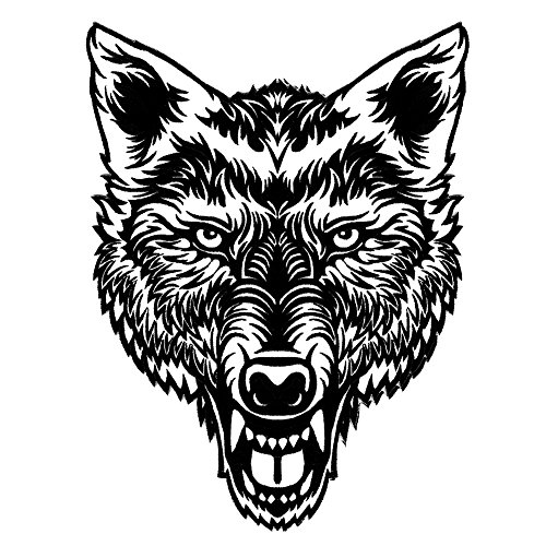 VEGASBEE LARGE LONE WOLF HEAD TATTOO BLACK-WHITE EMBROIDERED IRON-ON PATCH JACKET EMBLEM 12