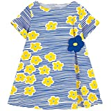 HILEELANG Little Girls Cotton Dress Casual Summer Sundress Flower Printed Jumper Skirt, 5T/(5-6YRS)120cm, 7-smallyellowflower