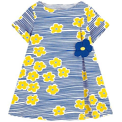 HILEELANG Little Girls Cotton Dress Casual Summer Sundress Flower Printed Jumper Skirt ()