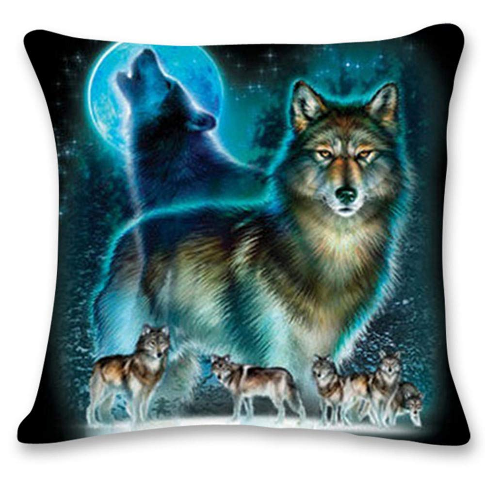 Pgojuni Cute Wolf Tower Flax Pillowcase Decoration Throw Pillow Cover Cushion Cover Pillow Case for Sofa/Couch 1pc (K)