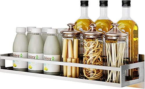 Junyuan Wall Mount Spice Rack Organizer, Kitchen Seasoning Hanging Rack for Pantry Herb Jar Bottle Cans Holder Cabinet Shelf Storage, Bathroom Shelf-Space Saving Over Oven, Durable-Stainless 17