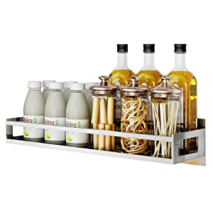 Junyuan Wall Mount Spice Rack Organizer, Kitchen Seasoning Hanging Rack for Pantry Herb Jar Bottle Cans Holder Cabinet Shelf Storage, Bathroom Shelf-Space Saving Over Oven, Durable-Stainless (15.8)