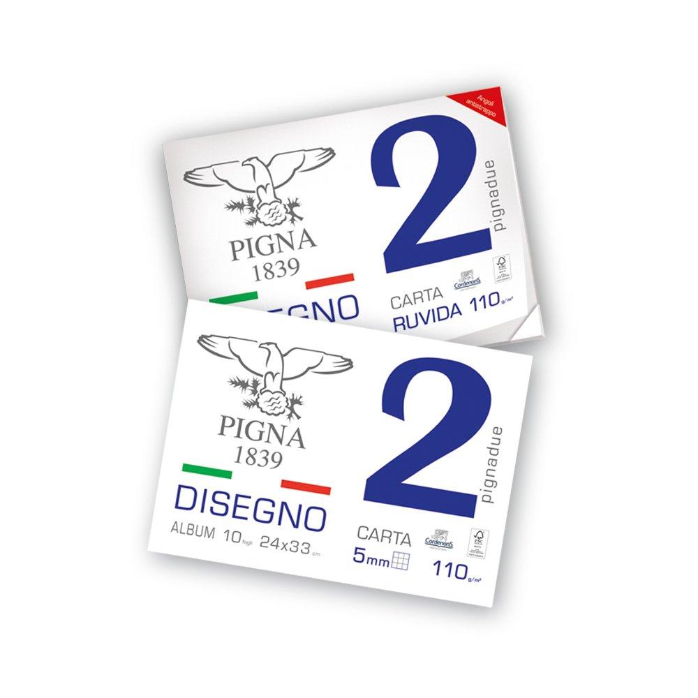 Pigna 0220012SG Album Disegno, Carta Liscia Squadrata, 2 Fogli, 24 x 33 cm Cartiere Paolo Pigna