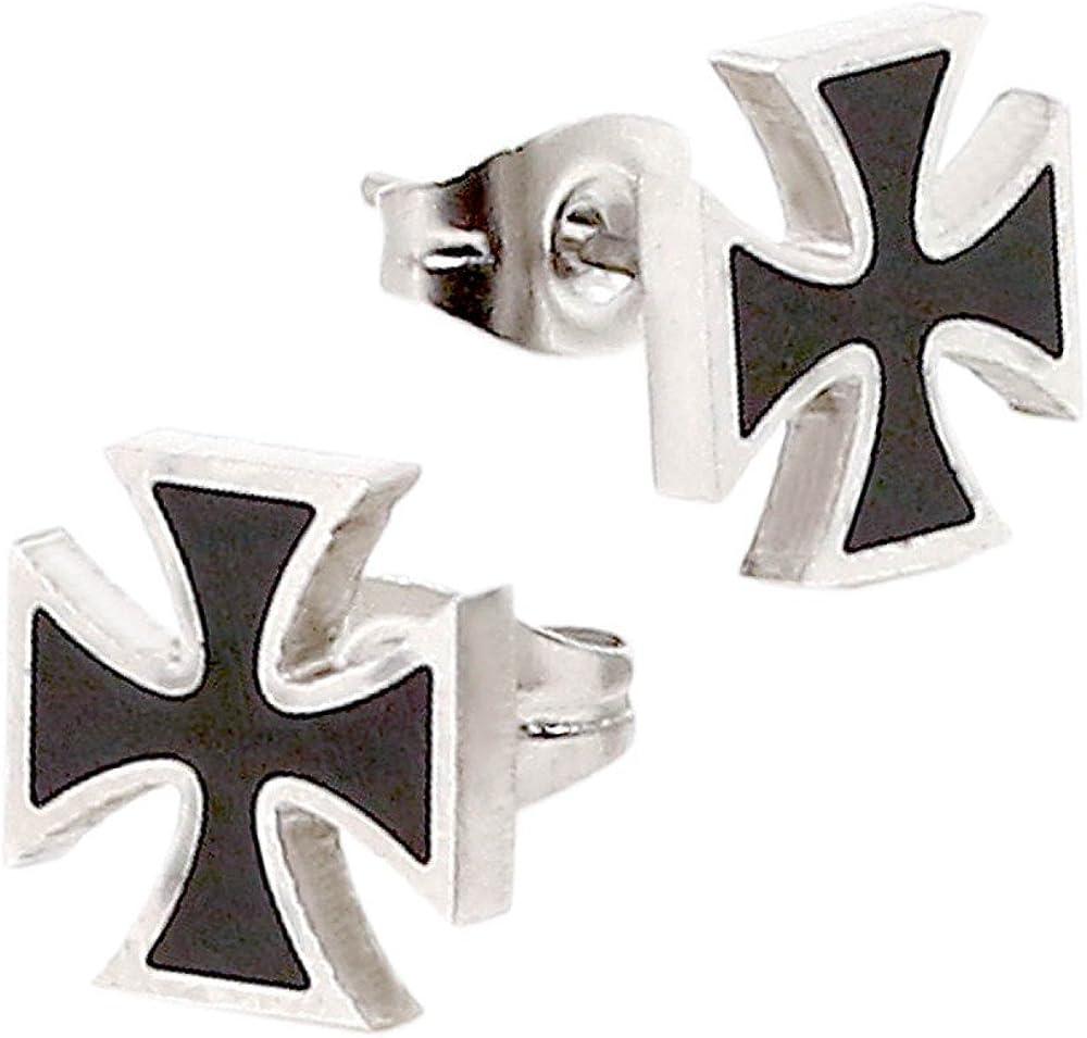 2 Aretes Pendientes de Botón acero bucles Cruz de Hierro Color Plata Negro