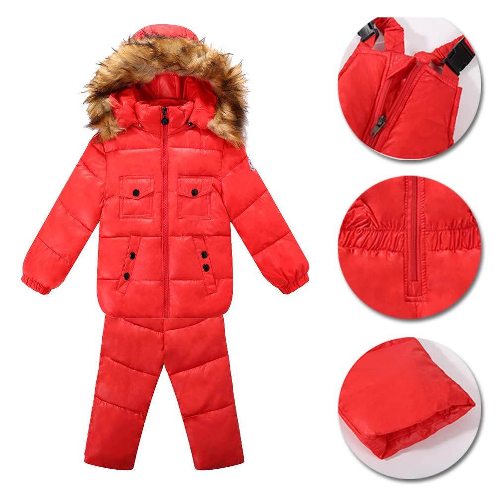 2 Pieces Children Duck Down Jacket+Trousers XFentech Winter Snowsuit