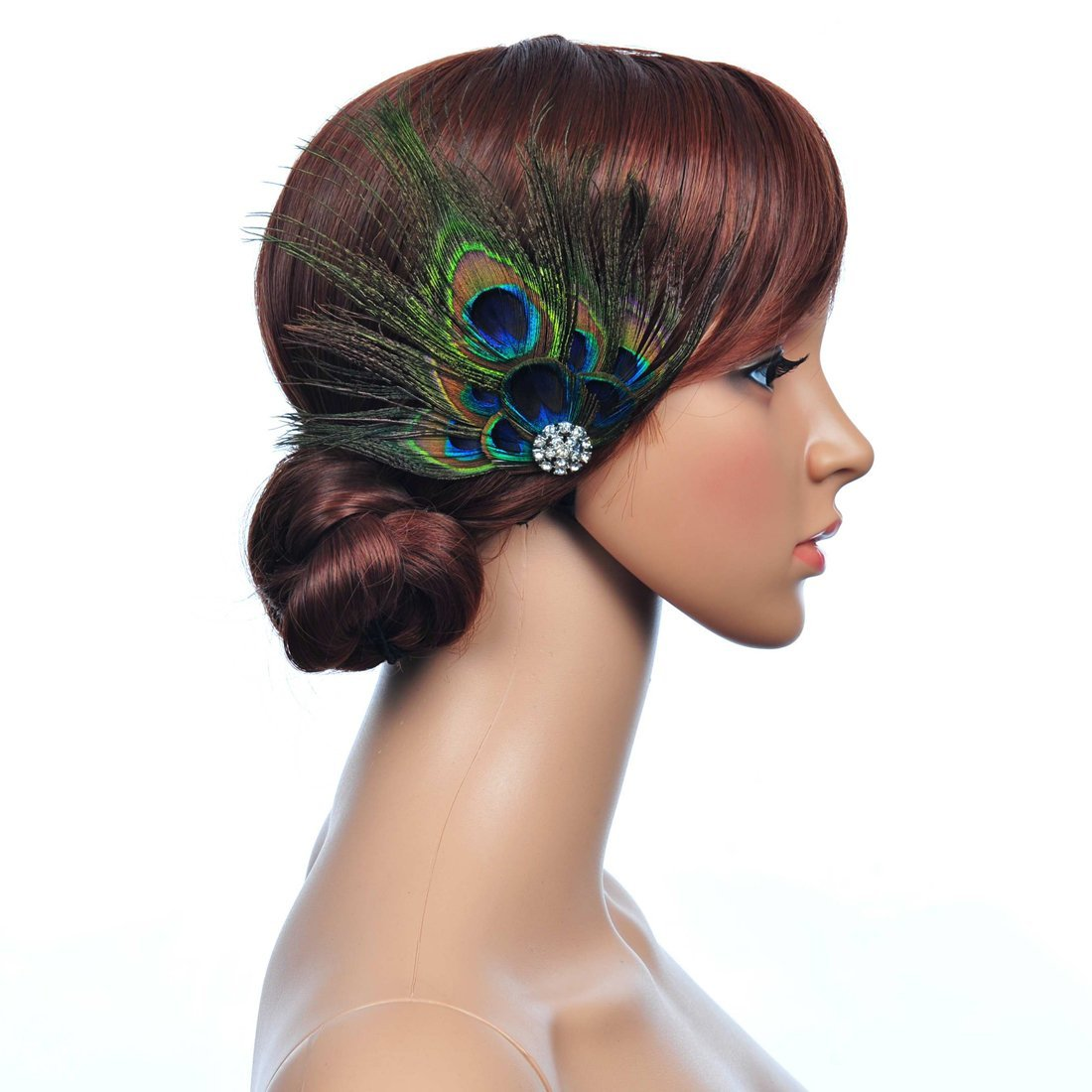 Remedios Black Peacock Feather Wedding Hair Accessory Bridal Hair Clip LWCAFS130241